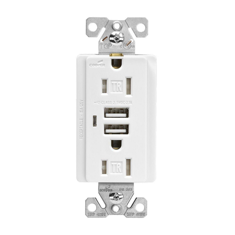 Fantastic Eaton Tr7745W Receptacle 15 Amp Combination Usb Charger With Tamper Resistant Outlet And Box White Wiring Database Gramgelartorg